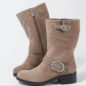 Vince Camuto suede boots mid calf taupe new wilan